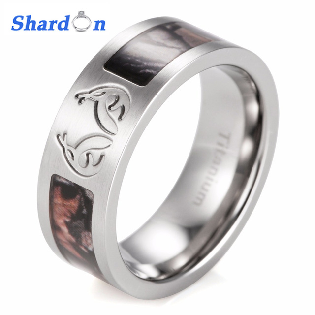 SHARDON Mens Real tree Carved Antler Camo Ring Titanium Brown