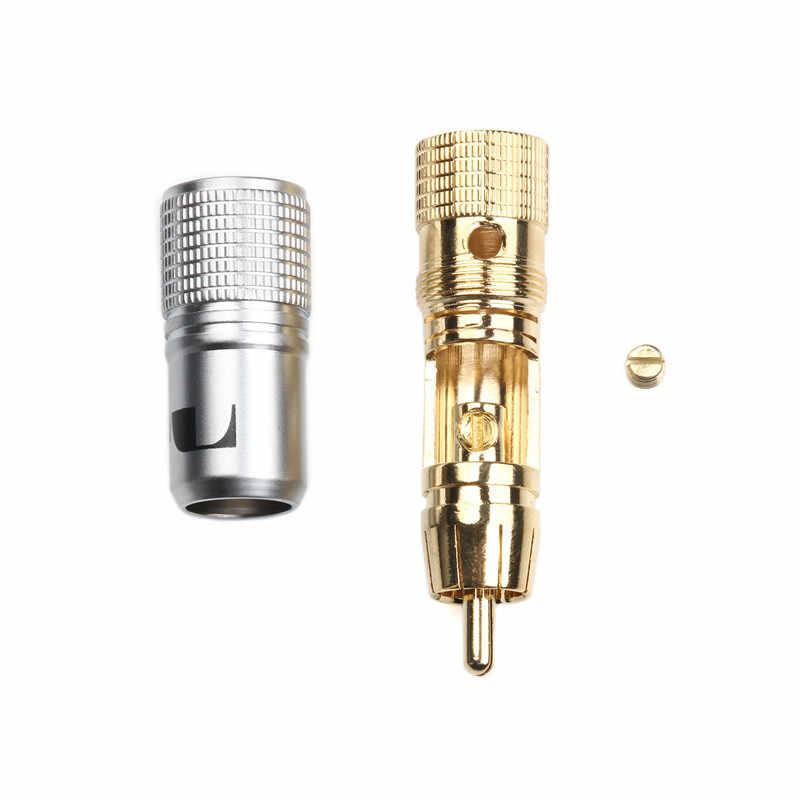 2 Stuks Nakamichi 10 Mm Rca Plug Vergulde Locking Non Soldeer Rca Coaxiale Connector Socket Adapter Hoge Kwaliteit