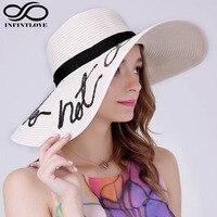 LUCKYLIANJI ETMEYİN RAHATSıZ Mektup Dikiş Straw Disket Şapka Kadın Moda Yaz Büyük Ağız Tatil Seyahat Tropikal Doruğa Kap