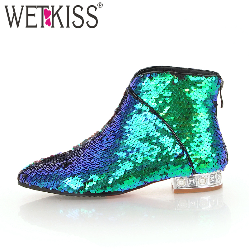 WETKISS Winter Ankle Women Boot Bling Pointed Toe Short Plush Crystal Footwear Female Boots Low Heels