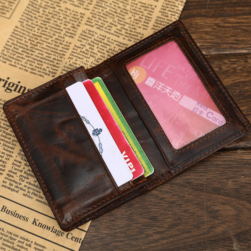 MS Hot Men Crazy Horse Genuine Leather Slim Wallet Business Casual ...