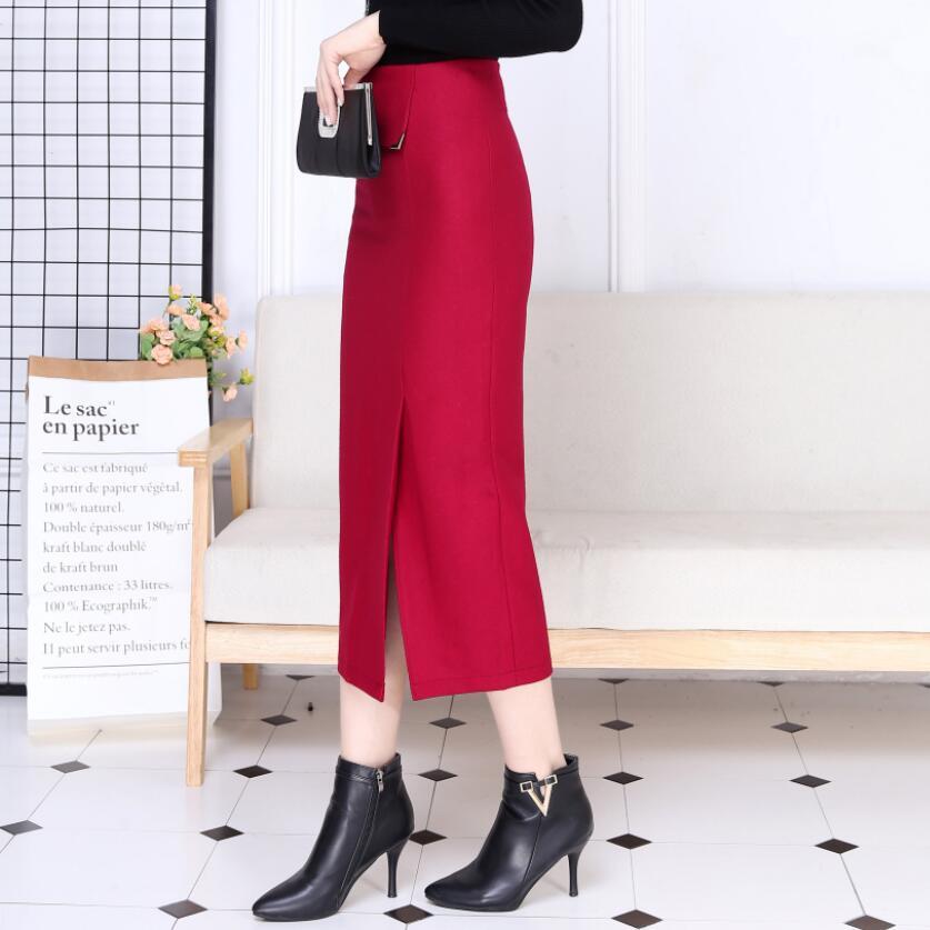 Más Lana Mujer Tamaño rojo caqui Mujeres De 2018 Invierno Larga borgoña Alta Faldas Lápiz Falda Negro Otoño Ly260 Cintura Fshion PPIzqv