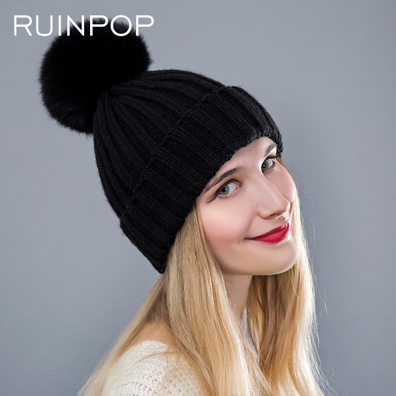 3d2350fda0a72 ... RUINPOP Mink Fox Fur Ball Cap Pom Winter Hats For Women Girls Hat Poms  Winter Hat ...