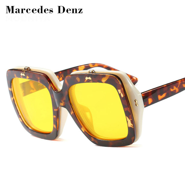 2582ea86d7 2018 Clip On Flip up Sunglasses Men Women Square Oversized Big Black Red  Yellow Clamshell Sun