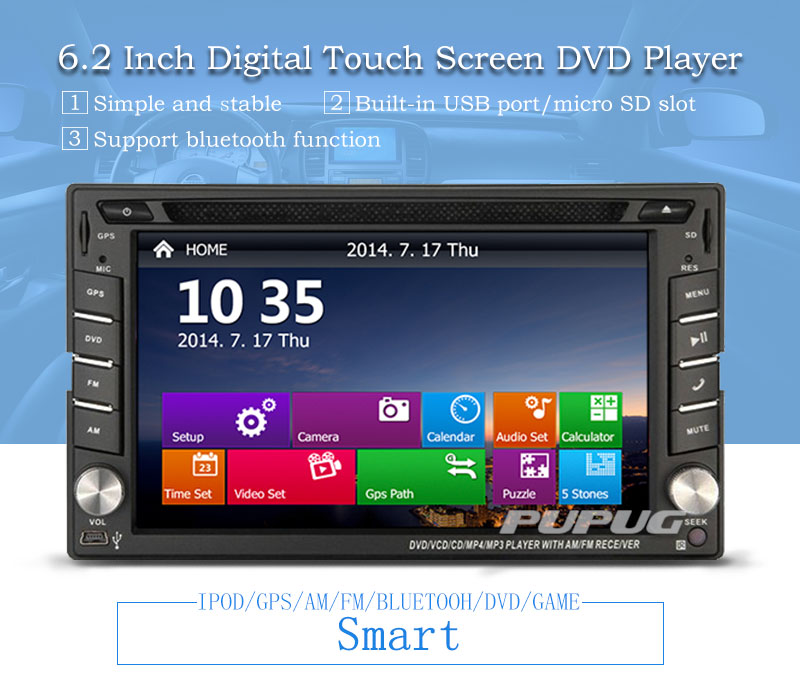 Rear camera Included+2 din car dvd cd player autoradio 800*480 Digital Touch Screen Head Unit support GPS Navigation/IPOD