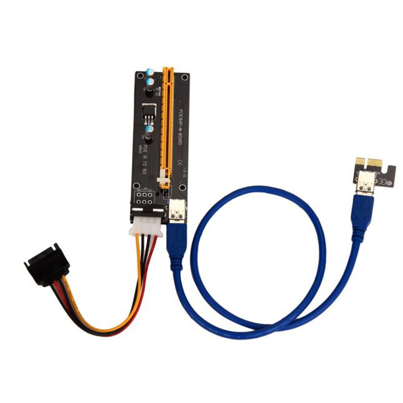 Factory price Hot Selling PCI-E Express Powered Riser Card W/ USB 3.0 extender Cable 1x to 16x Monero Free Shipping Mar4