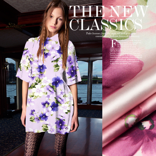 972ae383018a5 Aliexpress.com : Buy 118cm wide 19mm 93% silk & 7% pink floral print purple  pink silk satin fabric for dress shirt clothes cheongsam D030 from ...