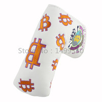 White Bit Coin Putter Golf Cover Velcro For Cameron Putters Headcovers
