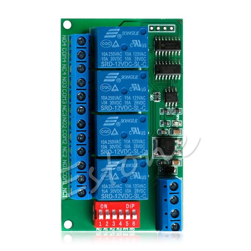 12V RS485 Relay 4CH Modbus RTU PC UART Board for PLC Lamp LED PTZ Camera Control compatible projector lamp bulbs poa lmp136 for sanyo plc xm150 plc wm5500 plc zm5000l plc xm150l