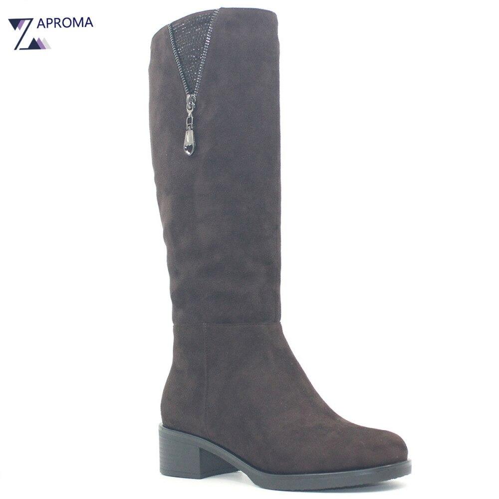 Фотография Med Heel Brown Suede Women Boots Double Zip Square Heel Crystal Winter Short Plush Knee High Shoe Platform Footwear Sock Boot
