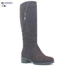 Med Heel Brown Suede Women Boots Double Zip Square Heel Crystal Winter Short Plush Knee High Shoe Platform Footwear Sock Boot