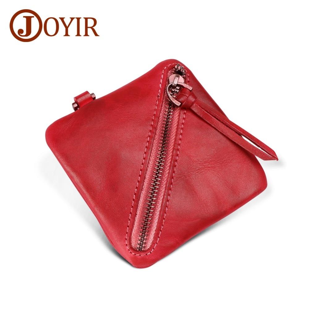 JOYIR Soft Genuine Leather Coin Purses Women's Small Change Money Bags Wallets Holder Case Mini Pouch Zipper Carteira Feminina