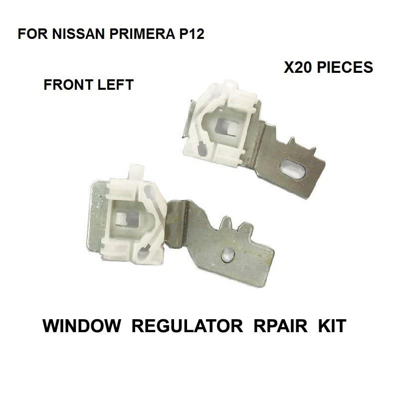 X20 SET WINDOW REGULATOR REPAIR CLIPS FOR NISSAN PRIMERA P12 FRONT-LEFT 2002-2007 NEW