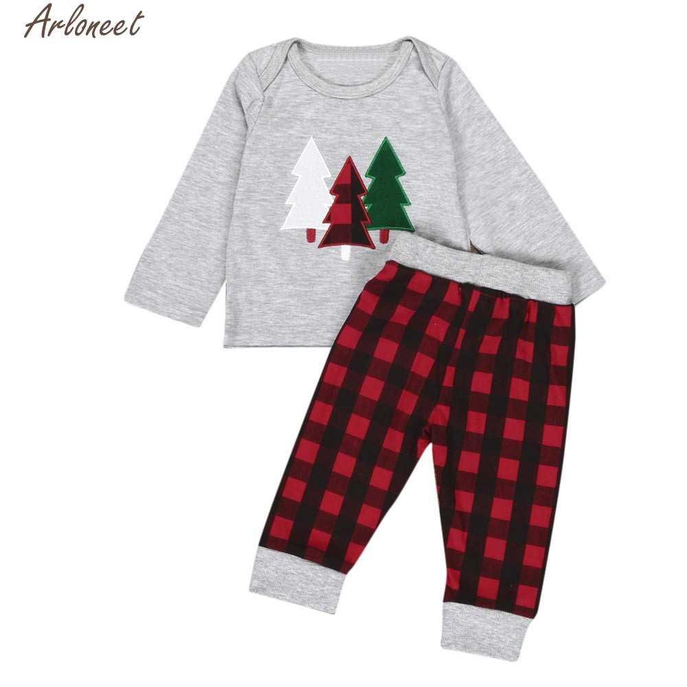 2019 ใหม่เด็กทารกเสื้อแขนยาวคริสต์มาสเสื้อผ้าชุดเสื้อ + กางเกงลายสก๊อต 2 PCS ชุดสูงคุณภาพ yw0417