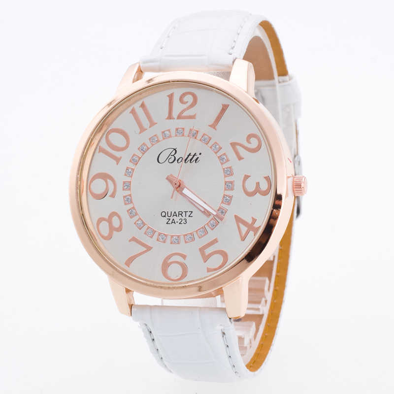 2019 Ny Berömd Brand Rosy Gold Big Dial Casual Quartz Watch Kvinnor Lether Strap Klänning Klockor Relogio Feminino White Clock Hot