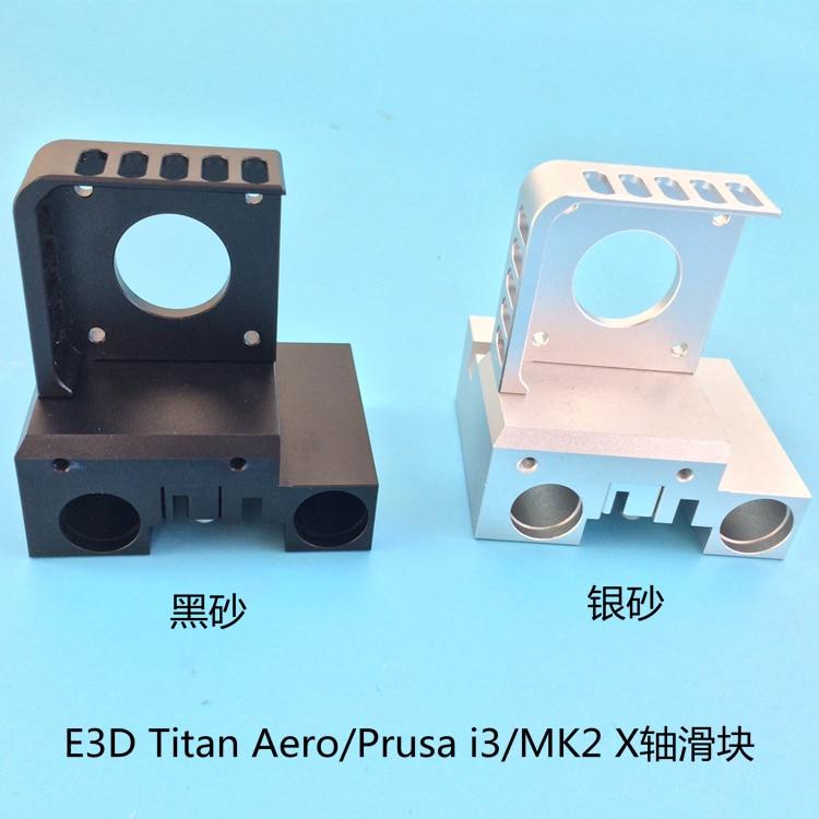 En alliage d'aluminium X Arbre Transport Kit Nema 17 moteur support de montage + X curseur + clip ceinture Pour Prusa I3 MK2 Titan Aero extrudeuse