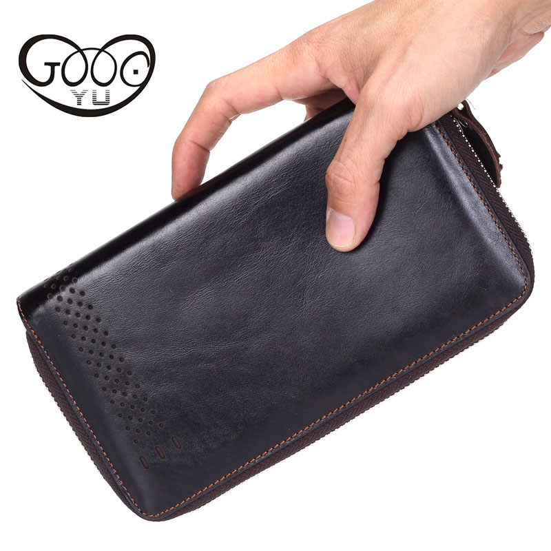GOOG.YU Vintage Genuine Leather Clutch Wallet Male Purses Large Capacity Men Wallets Double Zipper Mens Wallet with Phone Bag brand double zipper men wallets large capacity vintage genuine leather wallet men s clutch male purse coin card holder wallets