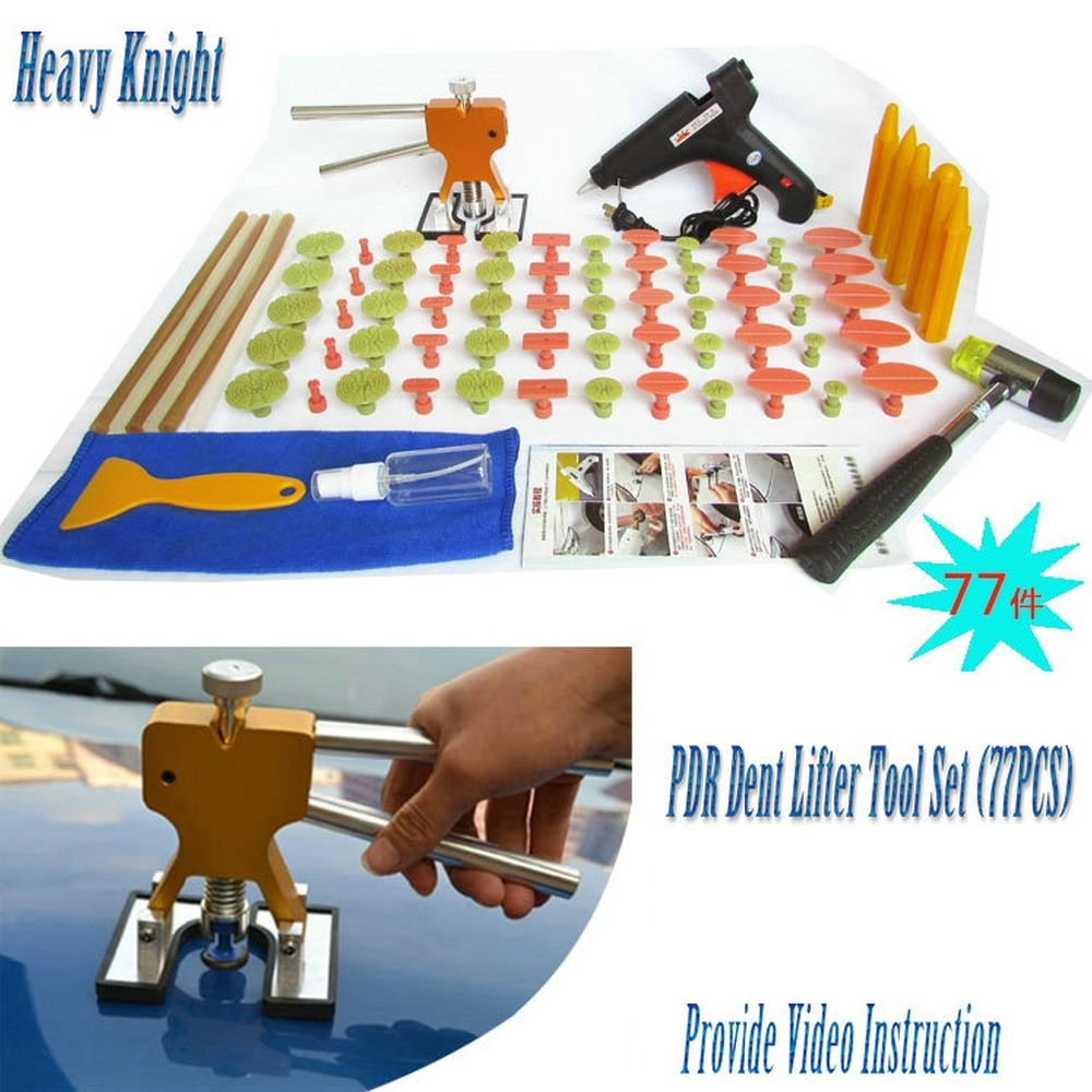 Heavy Knight PDR Tools Car Body Paintless Dent Repair Dent Removal KIt Puller Kit Dent Lifter Hand Tool Set 60 Pulling Tabs pdr tool kit for pop a dent 57pcs car repair kit pdr tools pdr line board dent lifter set glue stricks pro pulling tabs kit
