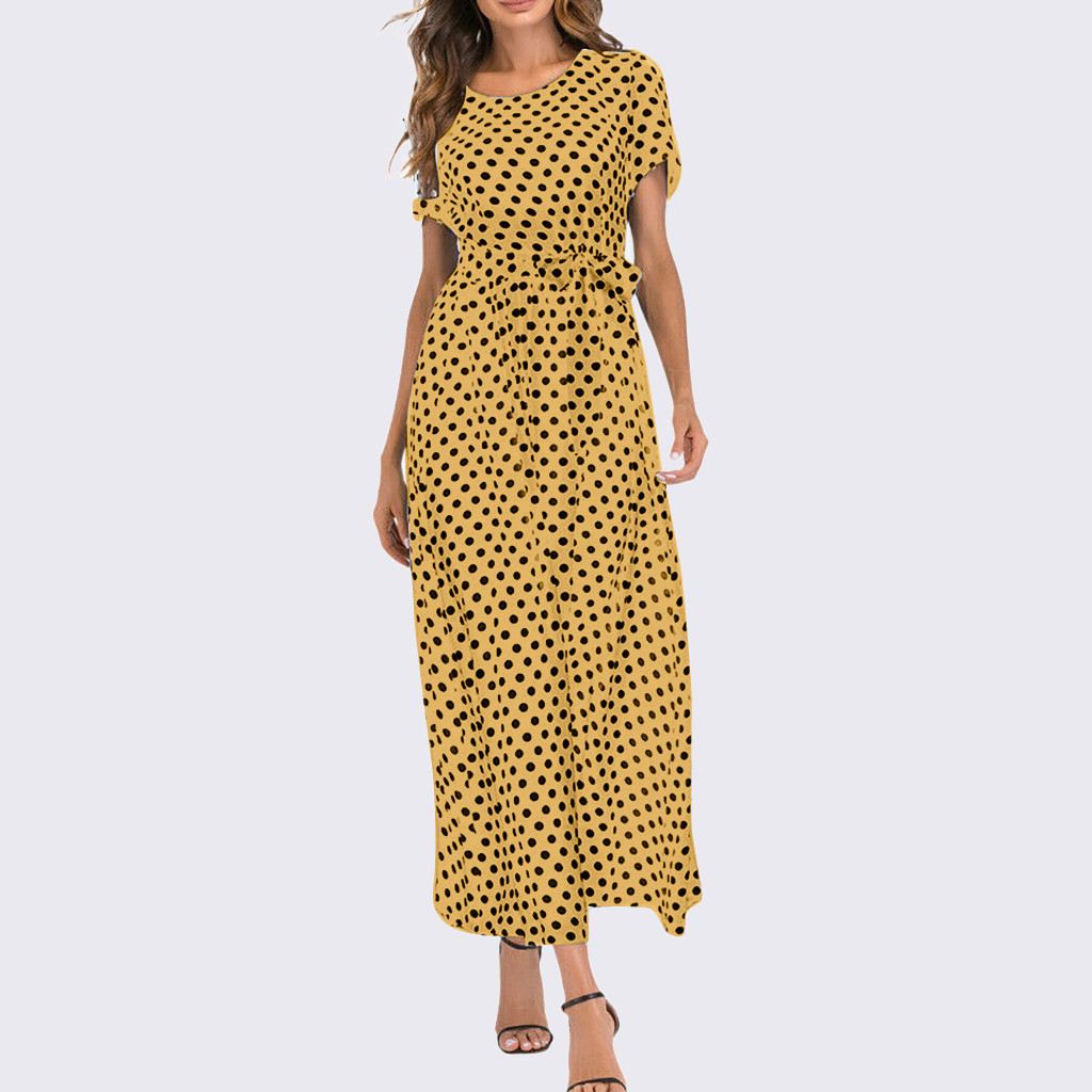 HTB15LqTavWG3KVjSZPcq6zkbXXaV - Summer Dress Women O-Neck Short Sleeve Boho Polka Dot Bandage Maxi Long Dress Women Beach Sundress Plus Size Vestidos