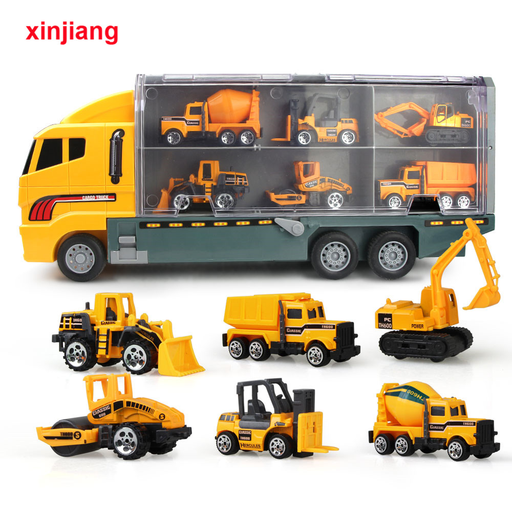 1:64-Scale-Toys Vehicles-Carrier Truck Alloy-Diecast Kids Boys Mini Engineering