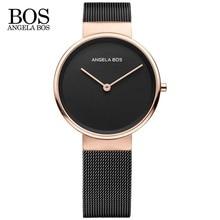 ANGELA BOS Delgada Simple Reloj de Las Mujeres de La Armadura de Acero Inoxidable Cristal de Zafiro Relojes de La Correa de Las Señoras Relojes de Primeras Marcas de Lujo