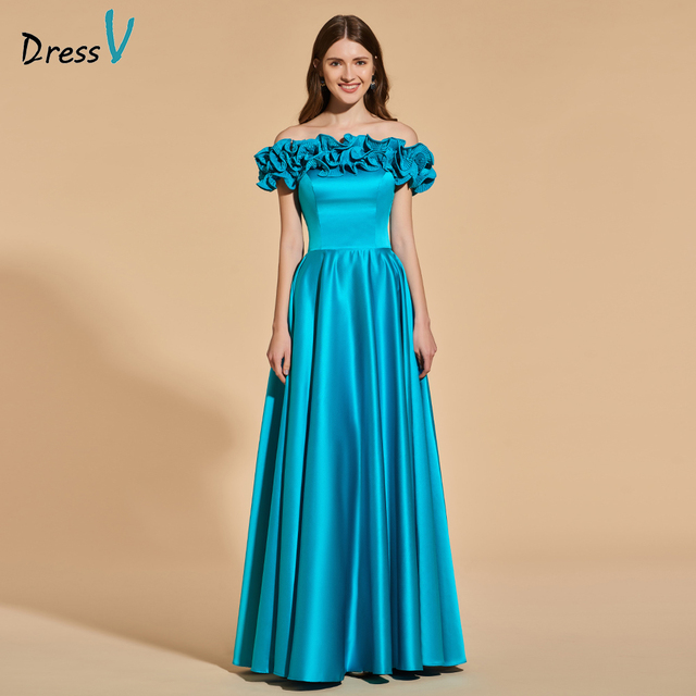 Dressv lake green long prom dress off the shoulder empire waist ...