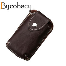 купить BYCOBECY Genuine Leather Car Key Wallets Men Key Holder Housekeeper Organizer Key Case Bag Pouch Purse Covers Hasp Key Case по цене 263.33 рублей