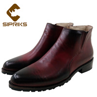 Sipriks Mens Genuine Leather Zipper Boots Italian Bespoke Goodyear Welted Boots Mens Cowboy Leather Shoes Vintage Ankle Boots