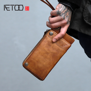 AETOO Handmade vintage cowhide Long wallet men's length large capacity zipper mobile phone bag
