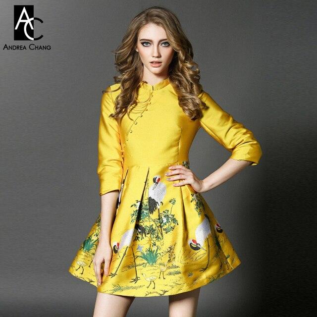 454526f0ab 2016 zima wiosna projektant sukienki damskie żółty zielony srebrny suknia  balowa żuraw drzewo drukuj moda śliczne