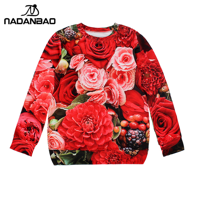 NADANBAO 3D ROSE OPEN Sweatshirt Long Sleeve Sudaderas Women Hoodies High Quality Pullovers Clothing Oversized Cropped Top