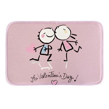 It's Valentine's Day Printed Decorative Indoormat Soft Door Mat Short Plush Bathroom Floor Mats Soft Pink Carpets image