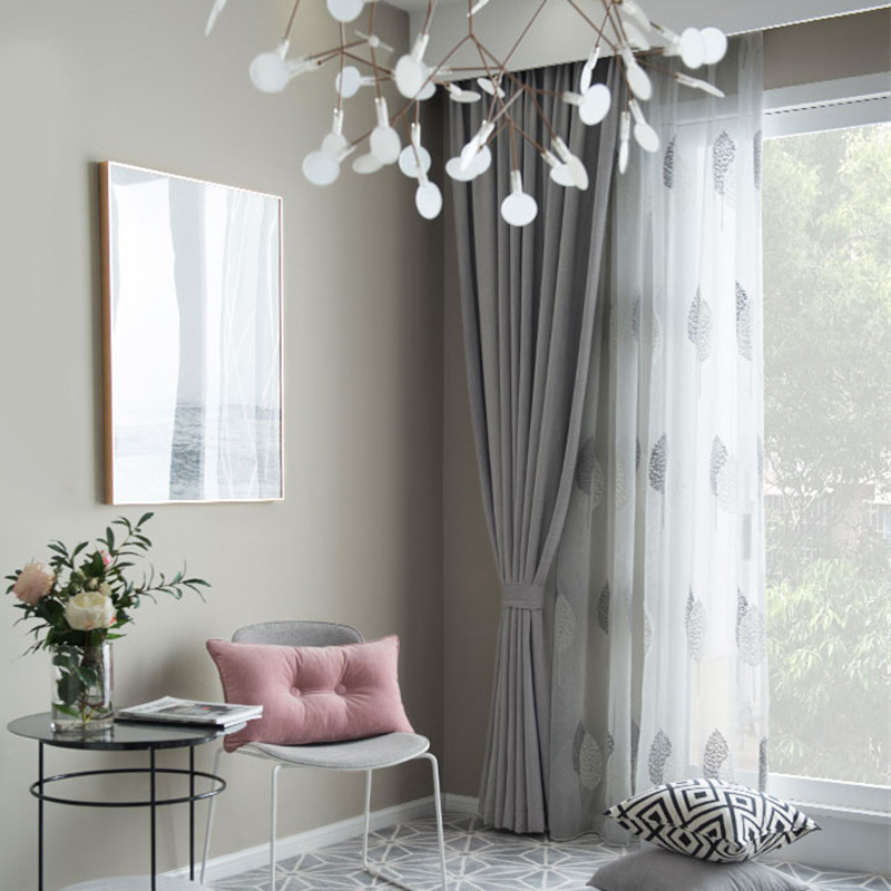 Nordic Grey Solid Curtains For Bedroom Modern Living Room Curtains White  Leaves Embroider Tulle Curtains Drapes