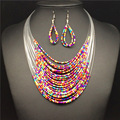 Fashion knitted fashion bohemia multi-layer beads necklace earrings set 2016 chain sets accessories
