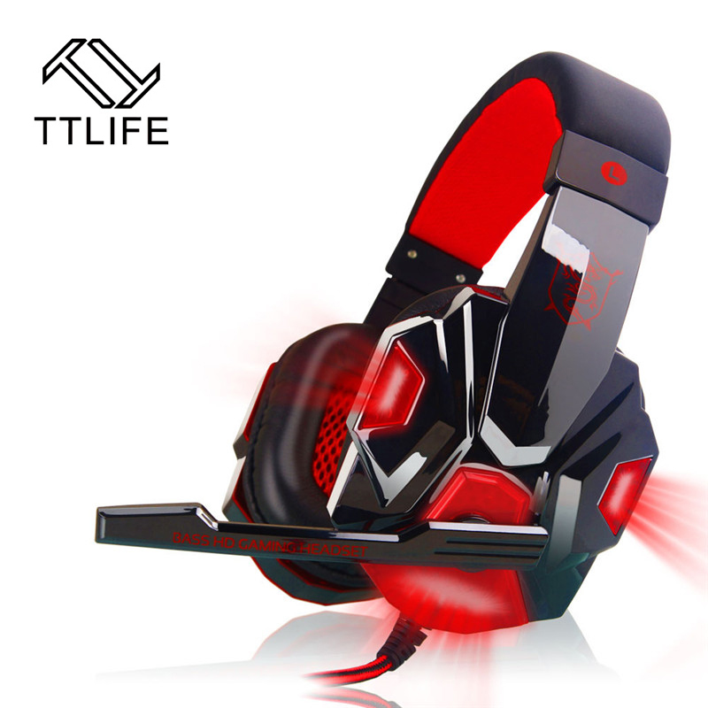 TTLIFE PC780 Gaming Headsets Over-ear Noise Cancelling Game Headphone Earphone with Mic LED Light for PC Gamers LOL CF DOTA each g8200 gaming headphone 7 1 surround usb vibration game headset headband earphone with mic led light for fone pc gamer ps4