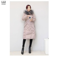LZJ Women Coat Jacket Warm Woman Parka Jacket With A Real Raccoon Fur Winter Thick Coat