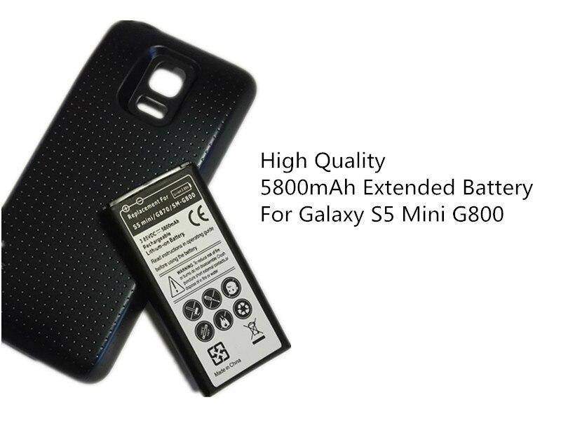 S5 Mini Étendue Remplacement de La Batterie Pour Samsung Mobile Téléphone Galaxy S5mini G800 G870 5800 mah EB-BG800BBE Batterie + noir Cas