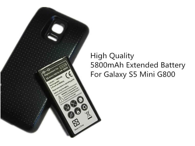 S5 Mini Verlängerte Batterie Ersatz Für Samsung Handy Galaxy S5mini G800 G870 5800 mah EB-BG800BBE Batterie + schwarz Fall