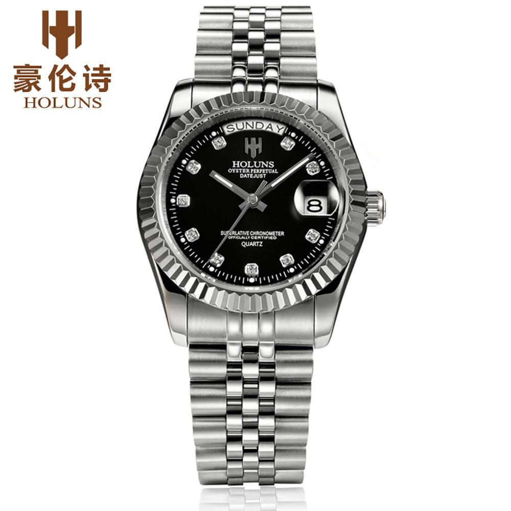 Mode Montres De Luxe Top Marque HOLUNS Acier Hommes Montre Lumineuse Étanche Montre-Bracelet Homme Horloge À Quartz Reloj Hombre