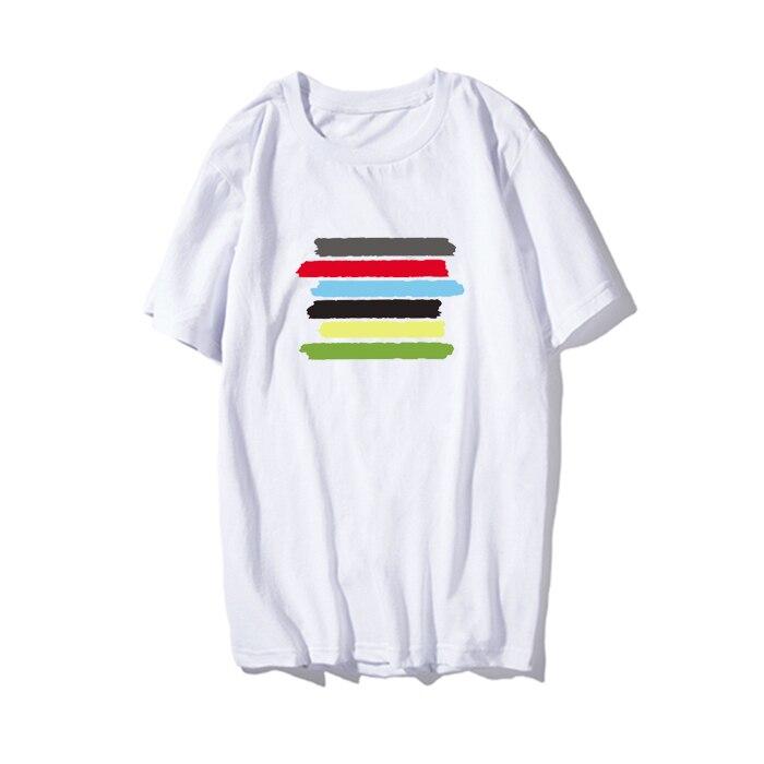 Kpop home Fashion Creative Color stripes harajuku style Unisex Couples tshirrt Man and Womens T lovers clothes