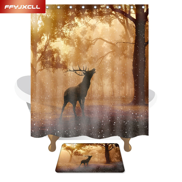 American Style Polyester Fabric Waterproof Mildew Forest Elk Shower Curtain Eco Friendly Bathroom 150x180cm