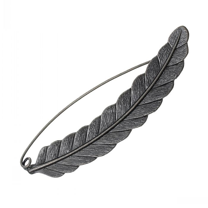 New Safety Brooches Pins Feather Antique Silver 8.5cm x 2.1cm(3 3/8 x 7/8),3PCs
