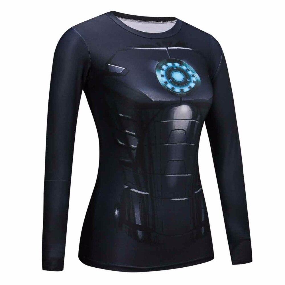 Camisas das mulheres T Compressão Camisa Azul ironman Superman Capitão  América Manga Longa T-Shirt Roupas de Marca Meninas de Fitness Crossfit b2b0997220b0e