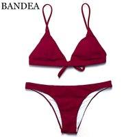 BANDEA 2017 Hot Sling Bikini Solid Color Women Swimwear Bikini Set Swimsuit Very Cheeky Brazilian Bottom
