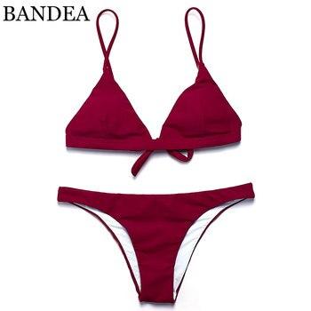 BANDEA 2018 sexy bikini solid color women swimwear bikini set swimsuit Very cheeky brazilian bottom Maillot De Bain Bikini