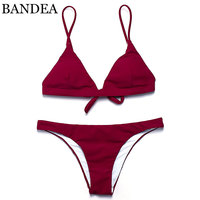 BANDEA 2017 Hot Sling Bikini Solid Color Women Swimwear Bikini Set Swimsuit Very Cheeky Brazilian Bottom