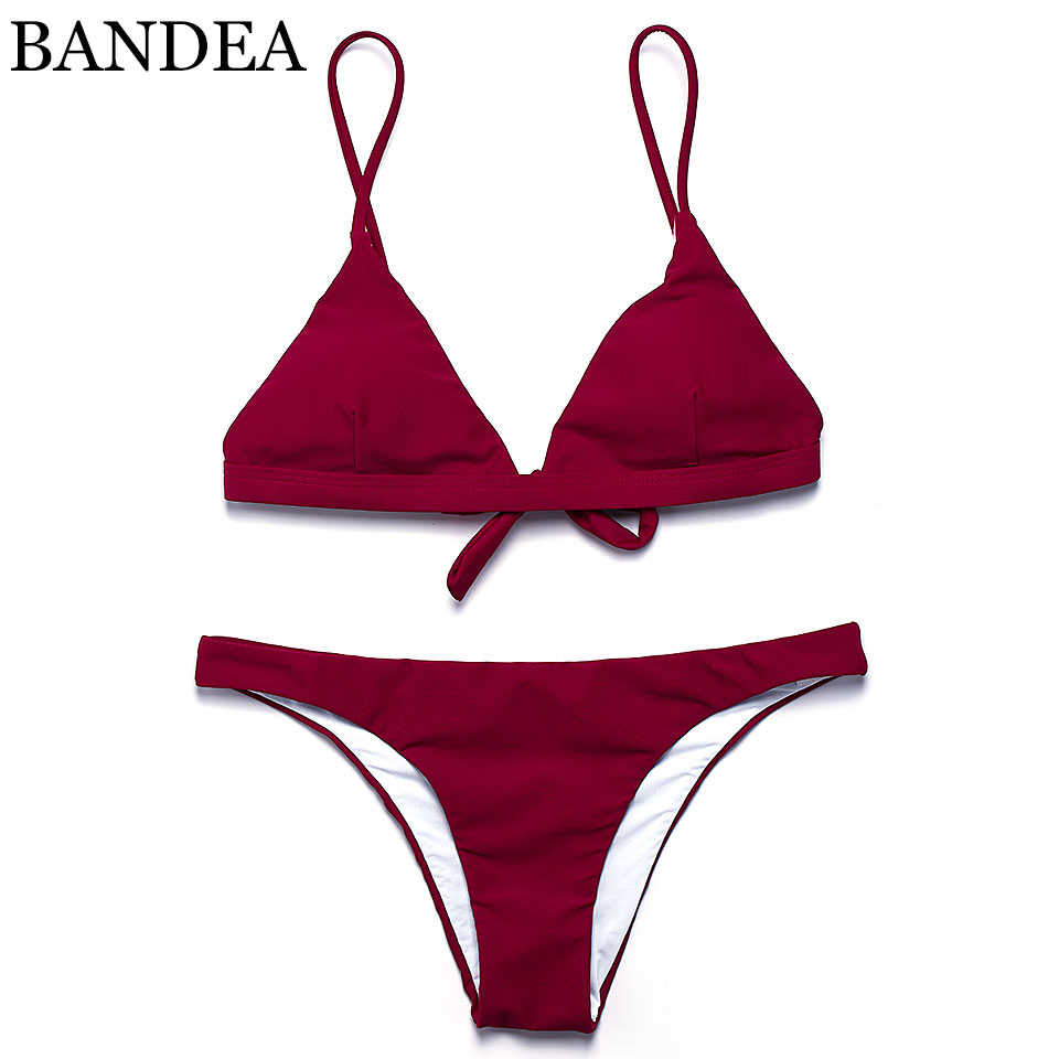 BANDEA 2019 sexy bikini solid color women swimwear bikini set swimsuit Very cheeky brazilian bottom Maillot De Bain Bikini in Bikinis Set from Sports Entertainment