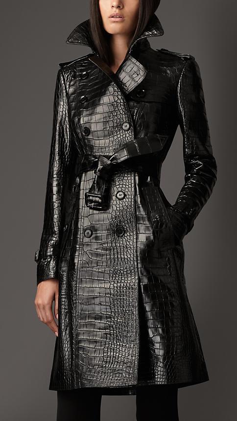 4fd0b570d Luxury Women Long Double Breasted Sheepskin Coat Crocodile Embossed ...