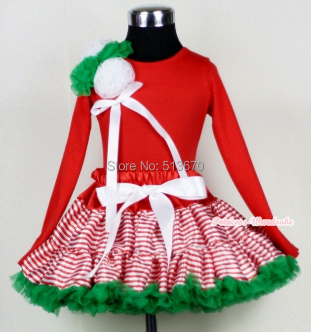 Red White Striped mix Christmas Green Pettiskirt with a Bunch of Kelly Green & White Rosettes and White Bow Red Tank Top MAM454 xmas red white pettiskirt with christmas gingerbread snowman print white long sleeve top with red lacing mamw402