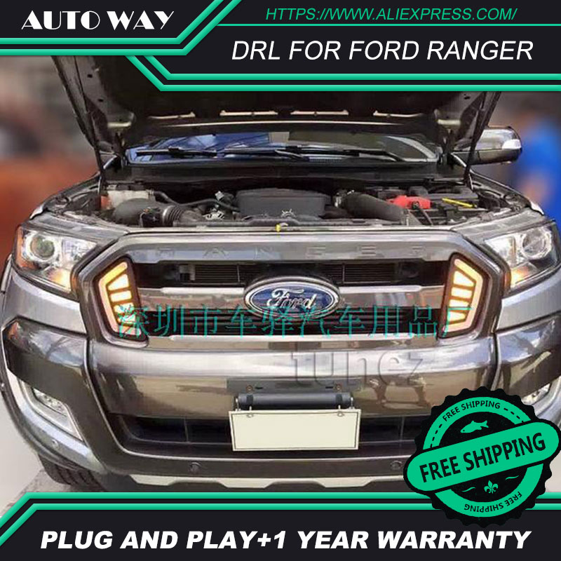 Free shipping ! 12V 6000k LED DRL Daytime running light Case for FORD RANGER 2015 2016 fog lamp frame Fog light Car styling car styling led drl for ford edge 2015 2016 led drl daytime running light 12v waterproof fog lamp drl with fog lamp hole